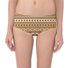 Fancy Tribal Borders Golden Mid-Waist Bikini Bottoms