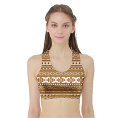 Fancy Tribal Borders Golden Women s Sports Bra With Border
