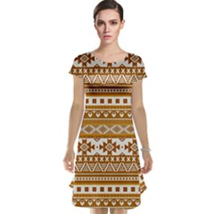 Fancy Tribal Borders Golden Cap Sleeve Nightdresses