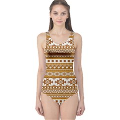 Fancy Tribal Borders Golden Women s One Piece Swimsuits
