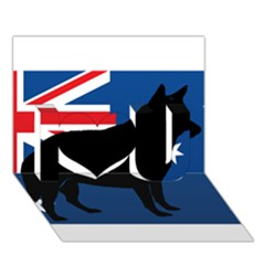 Australian Cattle Dog Silhouette on Australia Flag I Love You 3D Greeting Card (7x5)