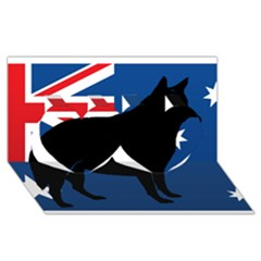 Australian Cattle Dog Silhouette on Australia Flag Twin Hearts 3D Greeting Card (8x4)