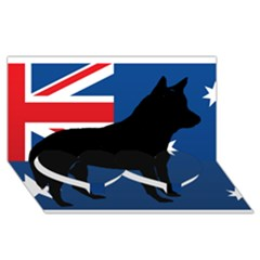 Australian Cattle Dog Silhouette on Australia Flag Twin Heart Bottom 3D Greeting Card (8x4)