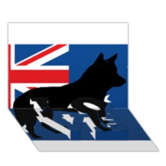 Australian Cattle Dog Silhouette on Australia Flag LOVE Bottom 3D Greeting Card (7x5)
