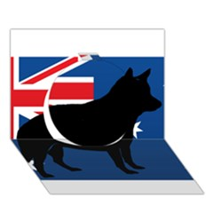 Australian Cattle Dog Silhouette on Australia Flag Circle 3D Greeting Card (7x5)