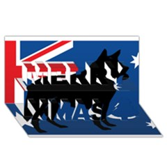 Australian Cattle Dog Silhouette on Australia Flag Merry Xmas 3D Greeting Card (8x4)