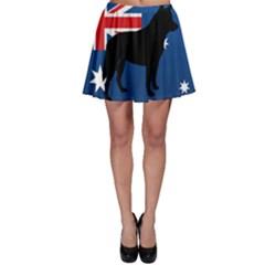 Australian Cattle Dog Silhouette on Australia Flag Skater Skirts