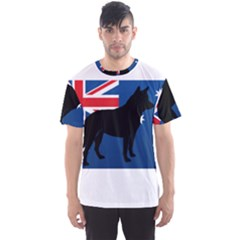 Australian Cattle Dog Silhouette On Australia Flag Men s Sport Mesh Tees