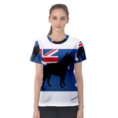 Australian Cattle Dog Silhouette on Australia Flag Women s Sport Mesh Tees