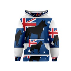 Australian Cattle Dog Silhouette On Australia Flag Kid s Pullover Hoodies
