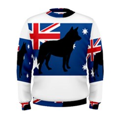 Australian Cattle Dog Silhouette on Australia Flag Men s Sweatshirts