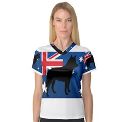 Australian Cattle Dog Silhouette on Australia Flag Women s V-Neck Sport Mesh Tee
