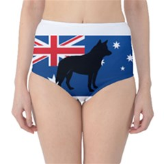 Australian Cattle Dog Silhouette on Australia Flag High-Waist Bikini Bottoms