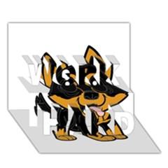 Lancashire Heeler Cartoon WORK HARD 3D Greeting Card (7x5)