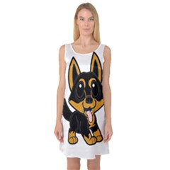 Lancashire Heeler Cartoon Sleeveless Satin Nightdresses