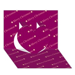 Merry Christmas,text,bordeaux Heart 3D Greeting Card (7x5)