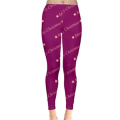 Merry Christmas,text,bordeaux Women s Leggings