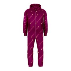 Merry Christmas,text,bordeaux Hooded Jumpsuit (Kids)