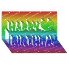 Merry Christmas,text,rainbow Happy Birthday 3d Greeting Card (8x4)
