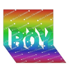 Merry Christmas,text,rainbow Boy 3d Greeting Card (7x5)