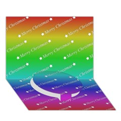Merry Christmas,text,rainbow Circle Bottom 3D Greeting Card (7x5)