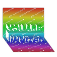 Merry Christmas,text,rainbow You Are Invited 3d Greeting Card (7x5)