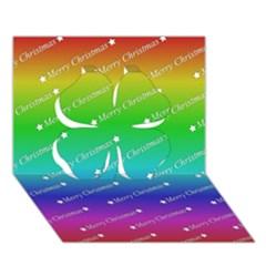 Merry Christmas,text,rainbow Clover 3D Greeting Card (7x5)