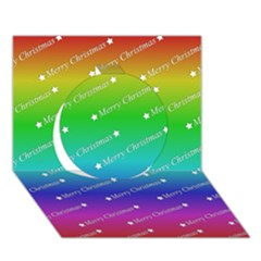 Merry Christmas,text,rainbow Circle 3D Greeting Card (7x5)