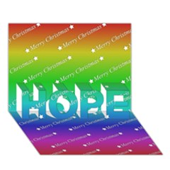 Merry Christmas,text,rainbow HOPE 3D Greeting Card (7x5)