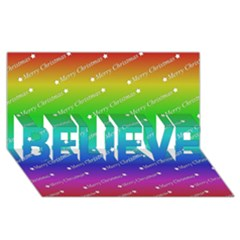 Merry Christmas,text,rainbow BELIEVE 3D Greeting Card (8x4)