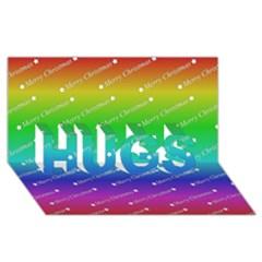Merry Christmas,text,rainbow HUGS 3D Greeting Card (8x4)