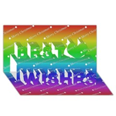 Merry Christmas,text,rainbow Best Wish 3d Greeting Card (8x4)