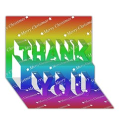 Merry Christmas,text,rainbow THANK YOU 3D Greeting Card (7x5)