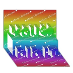 Merry Christmas,text,rainbow You Did It 3d Greeting Card (7x5)
