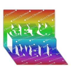 Merry Christmas,text,rainbow Get Well 3D Greeting Card (7x5)