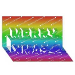 Merry Christmas,text,rainbow Merry Xmas 3D Greeting Card (8x4)