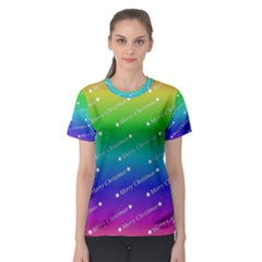 Merry Christmas,text,rainbow Women s Sport Mesh Tees