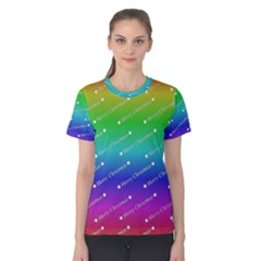 Merry Christmas,text,rainbow Women s Cotton Tees