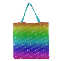 Merry Christmas,text,rainbow Grocery Tote Bags