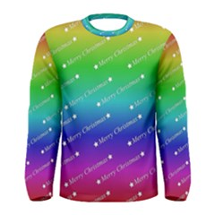 Merry Christmas,text,rainbow Men s Long Sleeve T-shirts