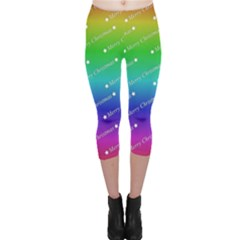 Merry Christmas,text,rainbow Capri Leggings