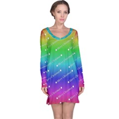 Merry Christmas,text,rainbow Long Sleeve Nightdresses