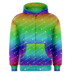 Merry Christmas,text,rainbow Men s Zipper Hoodies