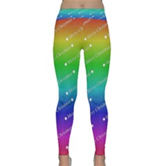 Merry Christmas,text,rainbow Yoga Leggings