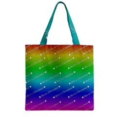 Merry Christmas,text,rainbow Zipper Grocery Tote Bags