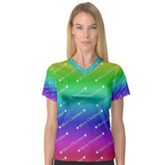 Merry Christmas,text,rainbow Women s V-Neck Sport Mesh Tee