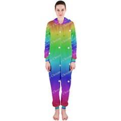 Merry Christmas,text,rainbow Hooded Jumpsuit (Ladies)