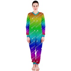 Merry Christmas,text,rainbow OnePiece Jumpsuit (Ladies)