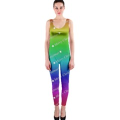 Merry Christmas,text,rainbow OnePiece Catsuits