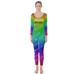 Merry Christmas,text,rainbow Long Sleeve Catsuit